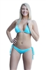 SpicySpot Lined String Bikini Top and Tie Sides Ruched Back Panty Set, Bikini Bathing Suit