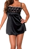 Lovely Day Lingerie Mini Dress and Thong Set - Black with Gold Trims