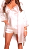 Polyester Ladies Robe - White Floral Embroidered