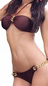 Sexy Brazilian Back Halter Top Bikini - Brown