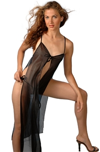 Tie Front Sheer Gown with Thong
