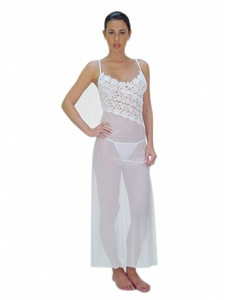 Sheer Fabric Gown with Angle-Cut Lace Bodice and Matching Thong