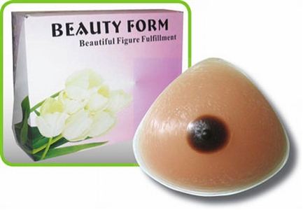 Mastectomy Triangle Symmetrical Silicone Breast Form with Brown Nipple - B