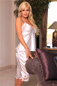 Polyester Cami/Capri Set - White with Floral Embroidery