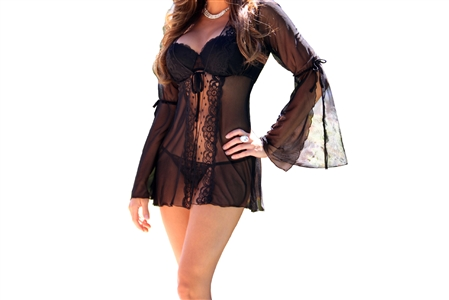 Lovely Day Sheer Lacey Ladies Robe G-String Set